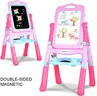 WEY&FLY Kids Double Side Adjustable Standing Art Easel ChalkBboard and Magnetic Dry Erase Board,Drawing Set Art Supplies Accessories Learning Play for Toddlers Kids (Pink)