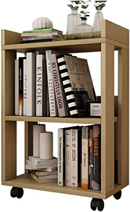 NILINFAN Modern Minimalist Small Bookcase Wooden Small Bookshelf Floor Creative Universal Wheel Movable Simple Locker