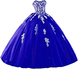 Women's Sweetheart Prom Long Dresses Quinceanera Gown with Crystal Sequins