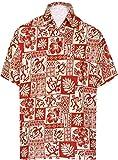 LA LEELA Casual Hawaiana Camisa para Hombre Señores Manga Corta Bolsillo Delantero Surf Palmeras Caballeros Playa Aloha XXL-(in cms):137-149 Blood Rojo_W464