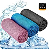 YQXCC Kühlendes Handtuch 3 Stück Reisetuch 120 x 30 cm Gym Mikrofasertuch für Männer oder Frauen Eiskalte Handtücher für Yoga Gym Reisen Camping Golf Fußball & Outdoor Sport (Pink/Hellblau/Dunkelgrau)