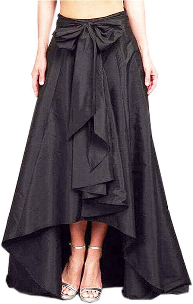 Lisong Women Long High Low Pleated Bow Satin Party Prom Skirt