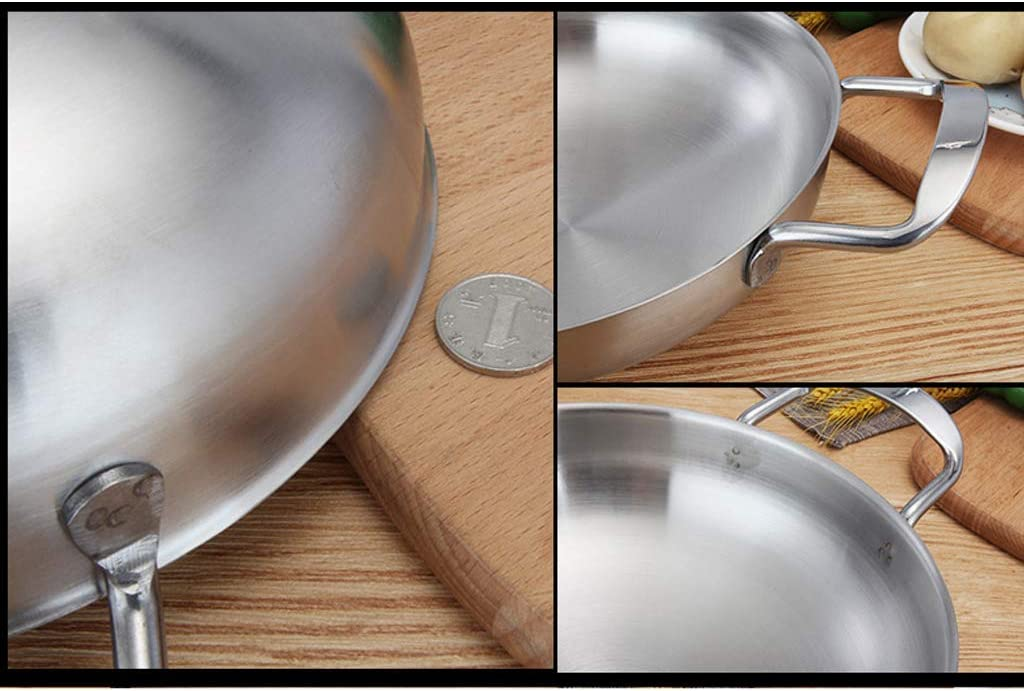 ZJDK 18cm 20cm 22cm Poêle à Paella Polie Marmite en Acier Inoxydable - Dorée 20cm, comme décrit Silver 22cm