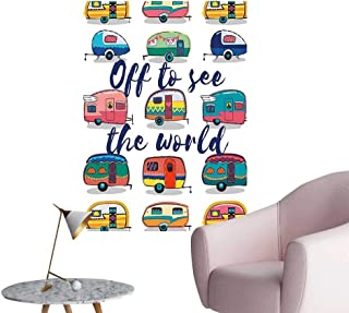 Wall Decorative to See The World Inspirational Quote on Mini Caravans Background Vintage Trip Image Pictures Wall Art Painting,24