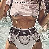 Flrora Chaîne de taille en couches Punk Ceinture en cuir Chaîne de corps à anneau métallique réglable pour femmes et filles
