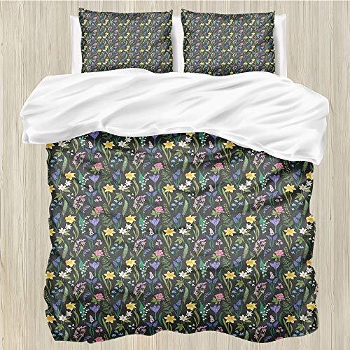 LanQiao - Funda de edredón para cama de matrimonio (226 x 226 cm), diseño de flores de primavera y hierbas