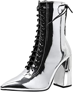 Wawer Damen High Heel Stiefeletten Frauen Plateau Stiefel