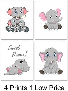 Elephant Nursery Decor Set of Four 8 x10 inch Unframed Art Prints - Great for Baby Room Wall Decor