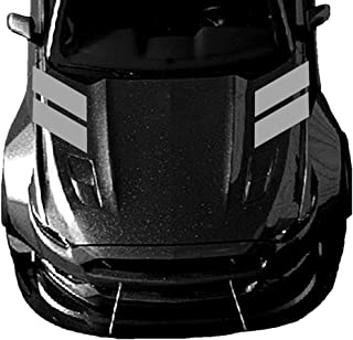 Clausen's World 4 Inch Fender Hood Hash Mark Bars Racing Stripes Carbon Fiber Vinyl Decals, Fits Ford Mustang, Shelby, Both Sides, Grey