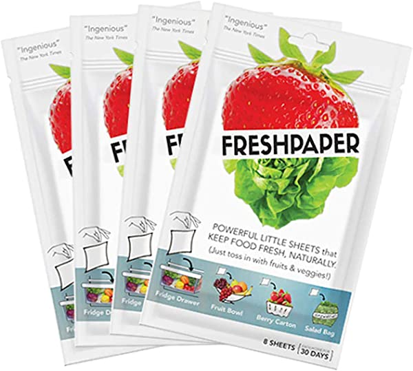 FRESHPAPER Food Saver Sheets For Produce 8 Sheet Package 4 Pack