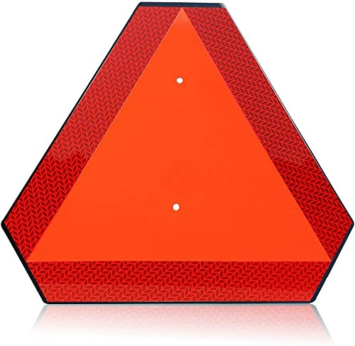 """Slow Moving Vehicle Sign Triangle Sign,Plastic 14""""x16"""" Engineering Grade Reflective Up to 7 Years Outdoor for Golf Cart"""