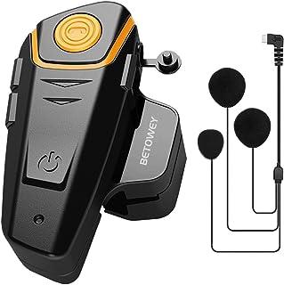 BETOWEY BT-S2 Auriculares Intercomunicador Moto Bluetooth para Motocicletas, Intercomunicador Casco Moto con Radio FM, Gam...