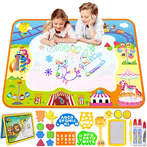 Aqua Magic Doodle Matte- Wasser Doodle Matte 100*70cm Kinder, Große Magic Malmatte mit Wasser Buch , 4 Magic Stifte, 8 Stempelset Perfektes Spielzeug für Mädchen Junge