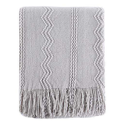 BATTILO HOME 100% Acrylic Knitted Throw Blanket Super Soft Textured Solid Decorative Throw Blanket with Tassels Cozy Plush Lightweight Fluffy Woven Blanket for Bed Sofa (Light Grey, 50'x60')