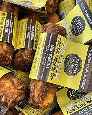 Earth Animal Bulk Box of 24 No-Hide Peanut Butter Dog Chews, Small, Vegetarian Rawhide Alternative