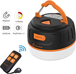 Siivton Camping Lights, LED Tent Light with Remote Control & Power Bank 6400mAh, USB Camping Lantern Rechargeable Ultra Bright LED Emergency Camping Light for Tents