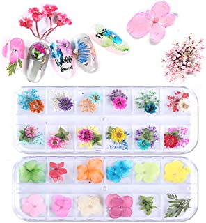 VOLODIA 2Box/set Dried Flowers Leaf Nail Decoration Natural Floral Sticker 3D Dry Beauty Nail Art Decals Jewelry UV Gel Po...