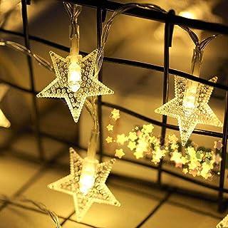 LF-YGJ Luz de Navidad con Pilas Estrellas Cadena Luces LED 5M 50 con Pilas de iluminación Decorativa para Cumpleaños Boda ...