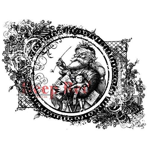 Deep Red Stamps Vintage Santa Rubber Stamp