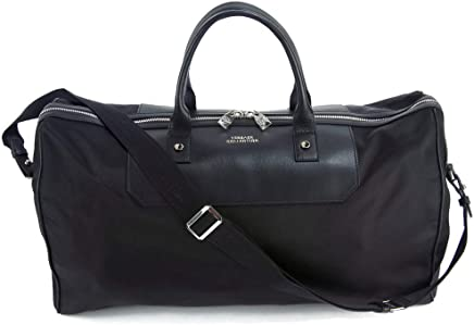 4292bbd606d1 Versace Collection Black Leather   Nylon Medusa Weekender Carry On Duffel  Travel Bag