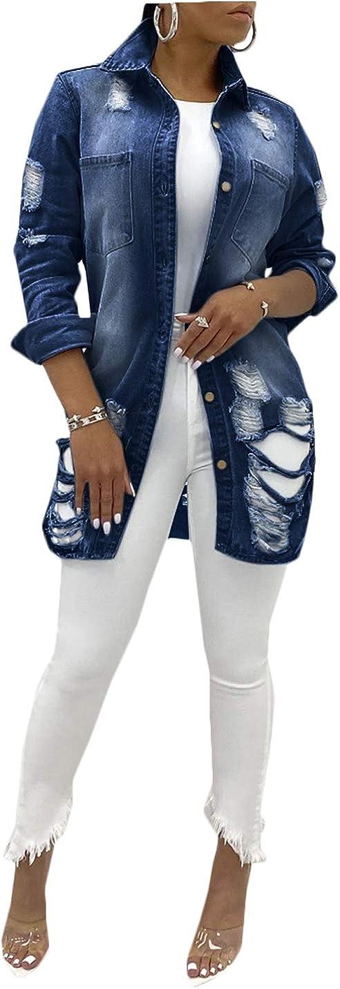 Hongsui Women's Lapel Ripped Button Denim Jacket Long Sleeve Boyfriend Distressed Coat