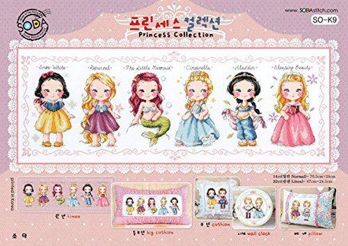 SO-K9 Princess Collection, SODA Cross Stitch Pattern Leaflet, Authentic Korean Cross Stitch Design Chart Color Printed on Coated Paper