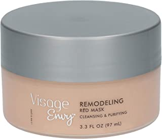 Visage Envy Remodeling Red Clay Mask - Cleansing and Purifying Gravity Face Mask - Mineral Clay Mask with Amino-Peptide Complex, Vitamin B, and Omega 3,6,9 to Hydrate and Remove Impurities - 3.3 Ounce