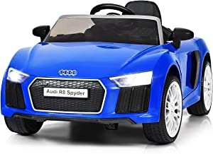 Costzon Kids Ride On Car, 12V Licensed Audi R8 Battery Powered Vehicle w/ Parental Remote Control, Double Lockable Doors, 3 Speeds, LED Lights, MP3 Player, Wheel Suspension, Portable Handle (Blue)