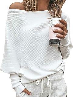 Women's Off Shoulder Long Sleeve Pullover Sweater Knit Jumper Tops