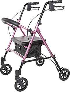 Carex Step 'N Rest Aluminum Rolling Walker For Seniors, Pink - Rollator Walker With Seat -  With Back Support, 6 Inch Wheels, 250lbs Support, Lightweight