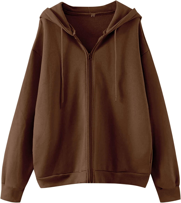 Meladyan Women Solid Drawstring Full Zip Up Oversized Hoodies Long Sleeve Vintage Fleece Pockets Sweatshirts Jacket Top