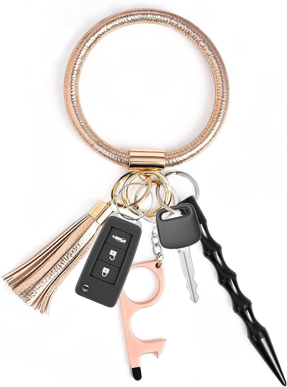 Leather Tassel Key Ring Bangle Keyring, Portable Bracelet Circle Keys Holder for Women Girls Gift