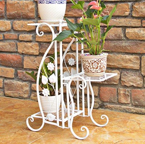 DGF Iron Art Flower Stand, Stand intérieur d'étagère d'intérieur de trois étages (42,5 cm Long * 27 cm de largeur * 68,5 cm High) Blanc Noir Or (Couleur : Blanc)