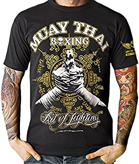 MMA Muay Thai Kick Boxing Wai Yellow Sak Yant Muay Boran Mens T-Shirt
