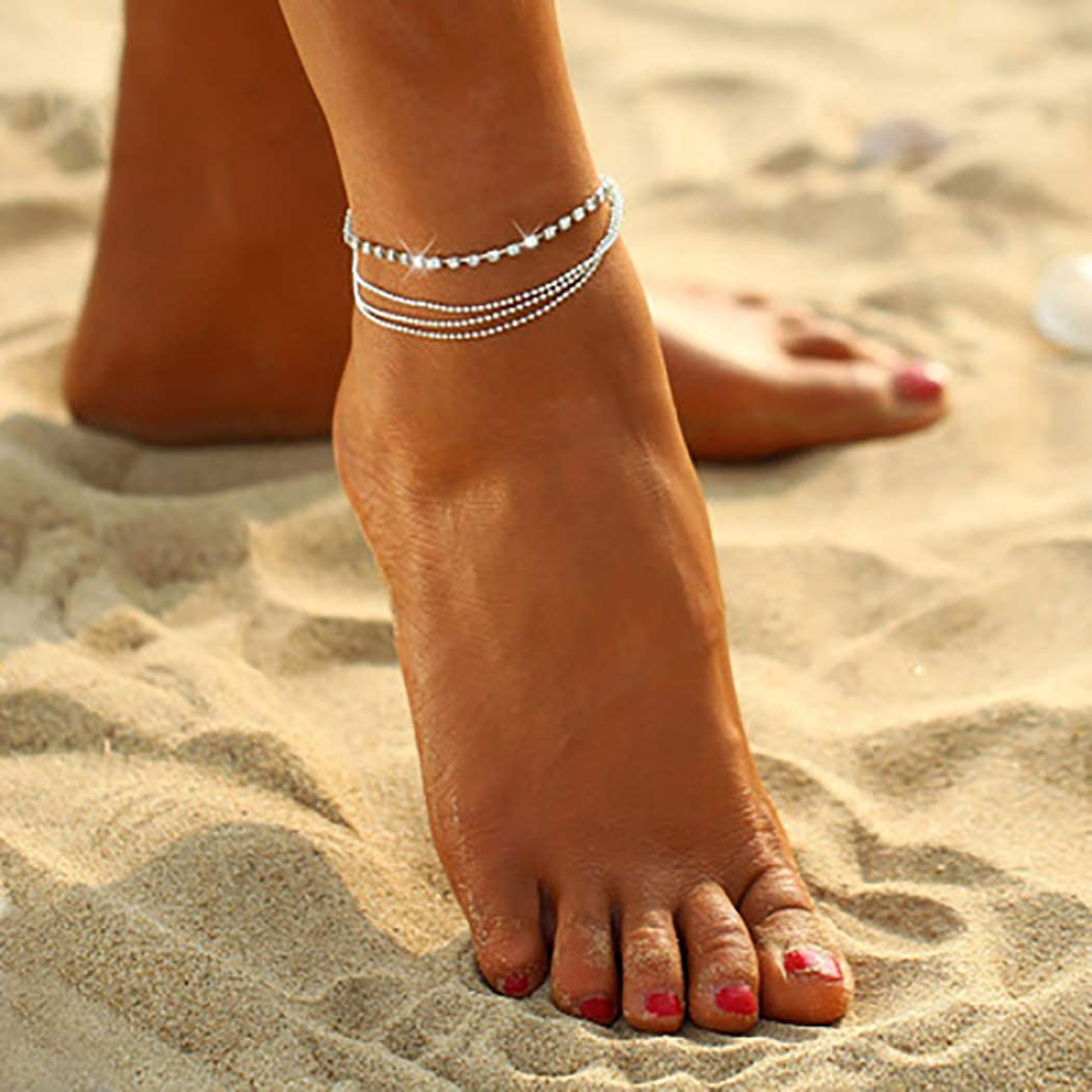Morebrave Layered Anklet Silver Anklets with Chain Sequi Super intense SALE Crystal Phoenix Mall