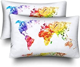 NHJYU Watercolor Global World Map Abstract Splatter Painting Art Pillow Cases Funda de Almohada Standard Size 20x30 Set of 2, Rectangle Fundas de Almohada Protector for Home Couch Sofa Bedding Decora