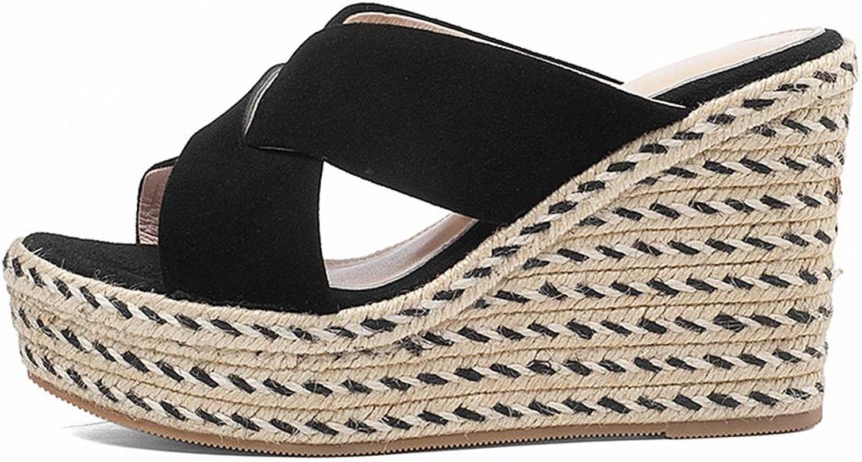 Damen Hausschuhe Sommer Sandalen mit Keilabsatz Damen High Heels Hausschuhe für Mdchen Stilvolle Damenschuhe 9 cm hoch (Farbe   schwarz, Größe   34)