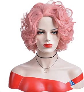 BERON Short Curly Wig Natural Wavy Wigs for Cosplay Costume Party Come with Wig Cap (Lovely Pink)