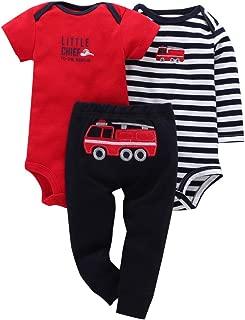 Comfydot Baby Infant Boy Outfit Bodysuit Pants Long& Short-Sleeves Clothes Set