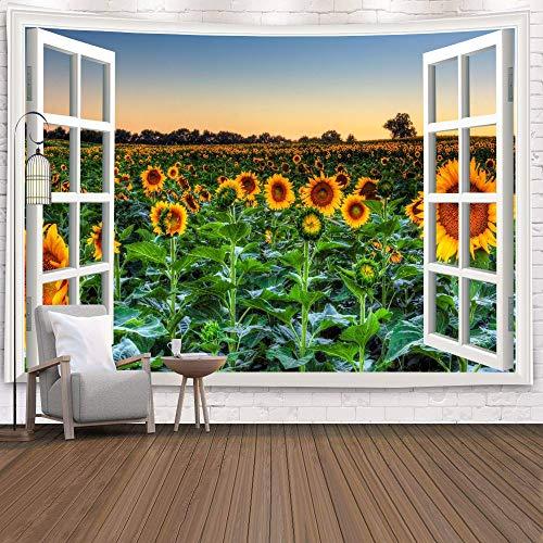 WERT Fenster Tapisserie Ansicht Grüne Pflanzen 3D Sea Flower Wandbehang Decke Tagesdecke Yoga Handtuch Strand Wanddekoration Tapisserie A16 130x150cm