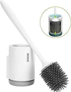Cepillo y Soporte para Inodoro de Silicona, Juego de portaescobillas para Inodoro para baño, Kit de Cepillo de Limpieza para Inodoro de Silicona con Cepillo de cerdas Suaves (Montaje en Pared)