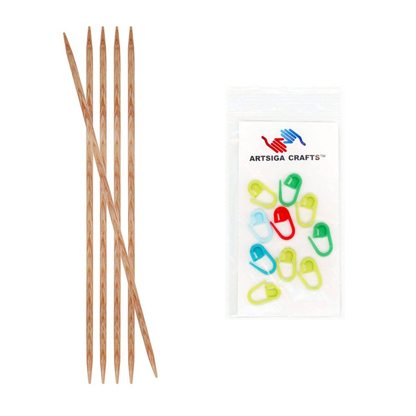 Knitter's Pride Naturalz Double Pointed 5-inch (12.5cm) Knitting Needles (Set of 5) Size 7 (4.5mm) Bundle with 10 Artsiga Crafts Stitch Markers 230010