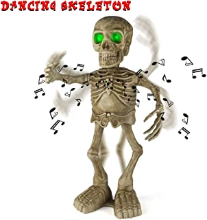 Sler Halloween Skeleton Decoration Dancing and Singing Indoor Animated Flashing Eyes for Halloween Decor Trick or Treat Event for Kids Haunted House Halloween Party Prop Decoration
