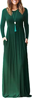 Women's Long Sleeve Loose Plain Maxi Dresses Casual Long Dresses Wite Pockets