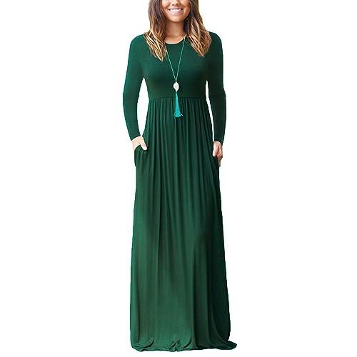 168fcd492c NELIUYA Women Long Sleeve Loose Plain Maxi Dresses Casual Long Dresses with  Pockets