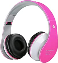 Kids Wireless Headphones,Bluetooth Wireless/Wired Headphones,Volume Limiting Safe Foldable Over Ear Earphone, Headsets with Built-in Mic/TF for Phone, Mode for PC/ipaid/TV Bluetooth,Girls(Rose red)