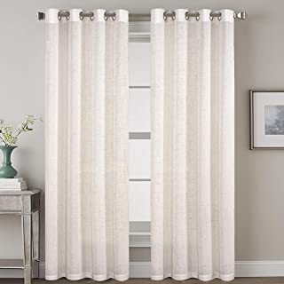 Geo Pattern Linen Curtains Light Filtering Privacy Protecting Panels Premium Soft Rich Material Drapes Window Treatment, 2...