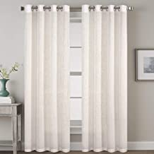 Elegant Linen Blended Curtains Privacy Protection Light Filtering Nickel Grommet Window Panels/Drapes for Bedroom (Set of 2, 52x84-Inch, Natural)