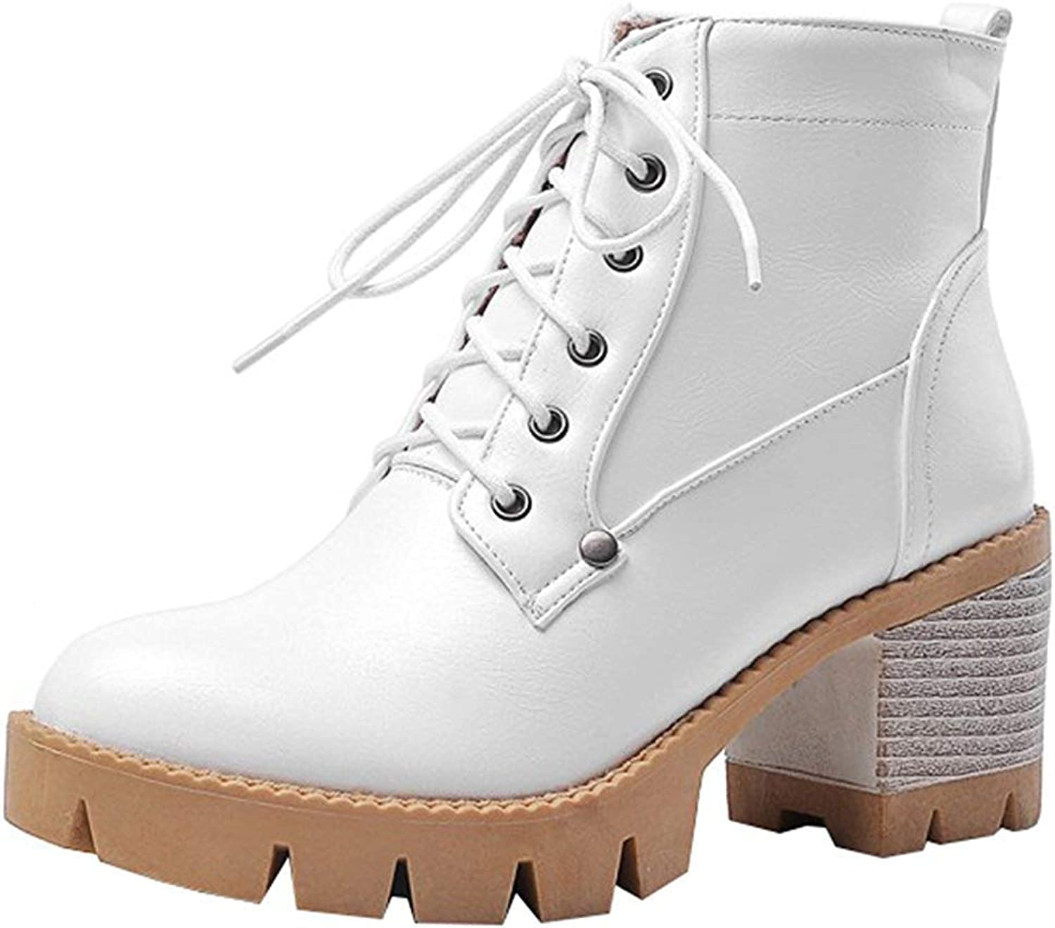 Gcanwea Women's Trendy Stacked Block Medium Heel Platform Ankle Booties Round Toe Lace Up Short Boots White 8 M US