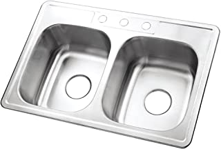 "KINGSTON Brass Gourmetier GKTD332283 Studio Self Rimming Double Bowl Sink, 33"" L x 22"" W x 8"" H, Brushed Stainless Steel"